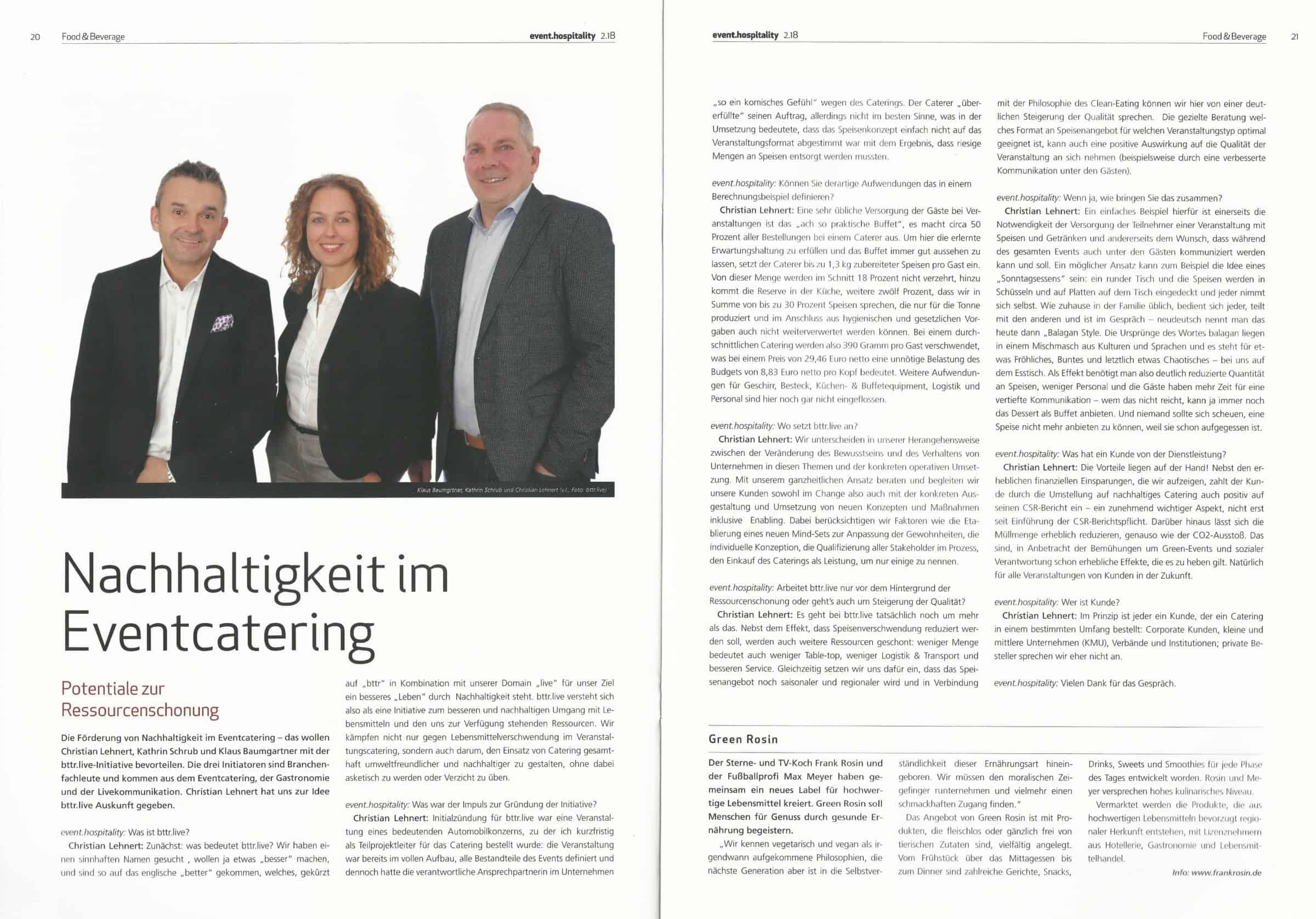 Sonderausgabe 02 2018 von event.hospitality mit dem Interview mit Christian Lehnert zu Nachhaltigkeit im Catering